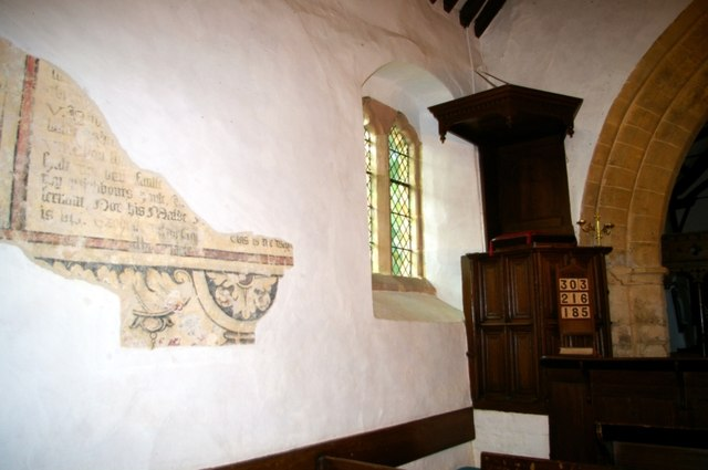 Wall painting and pulpit in St James the Great Church