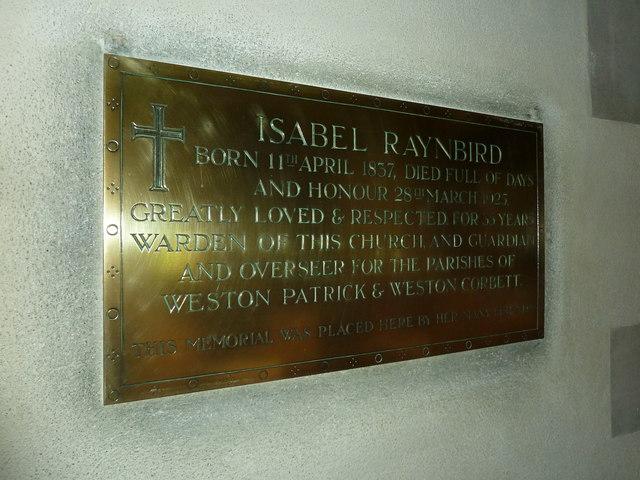 St Lawrence, Weston Patrick: Raynbird memorial