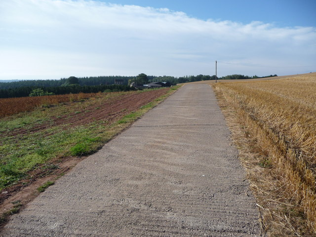 Part of the concrete driveway to Cleobury Lodge Farm