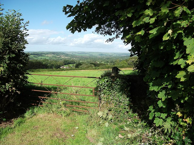 Footpath and view towards Lampeter Velfrey