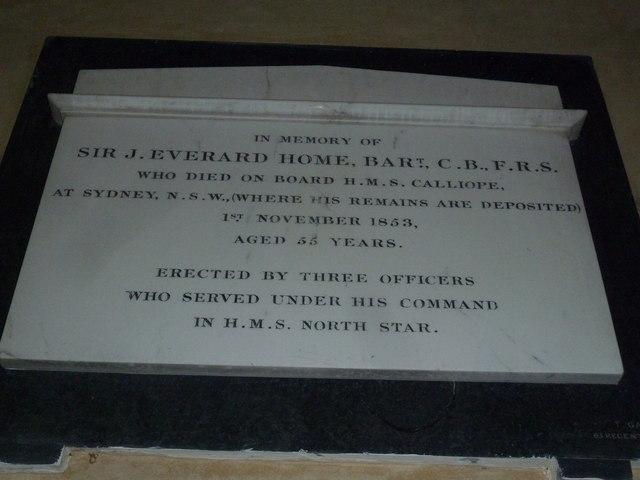 All Saints, Long Sutton: memorial to a naval baronet