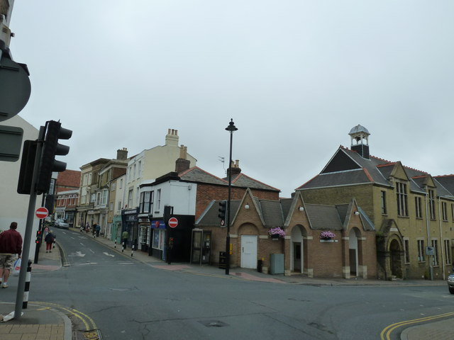 Looking across to the public toilets in High Street