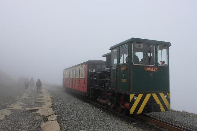 Snowdon Mountain Railway on a foggy day near the summit