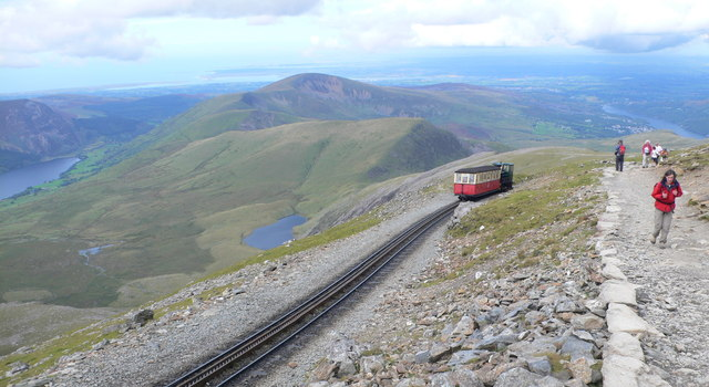 The Snowdon train nears the summit