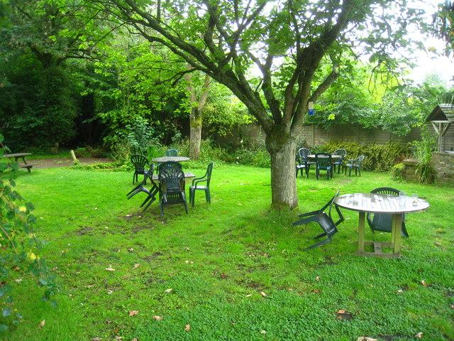 Damp pub garden
