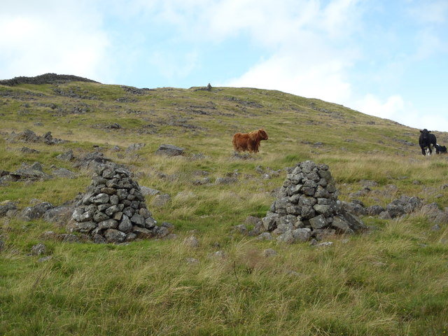 Twin Cairns on the slopes of Craig of Knockgray