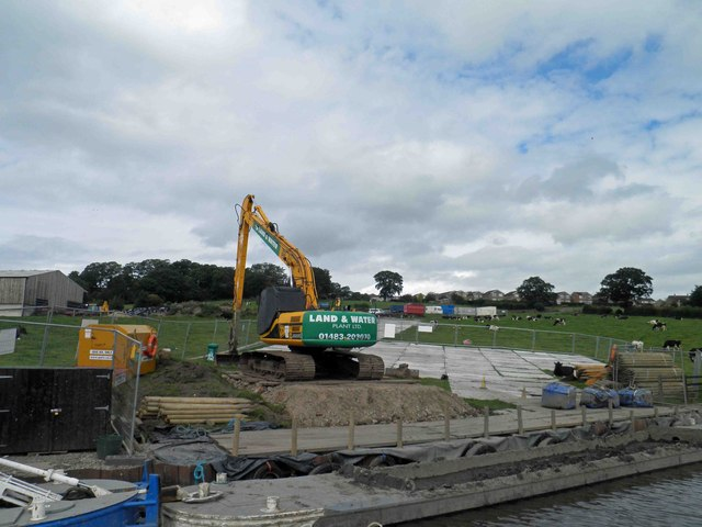 Offload point for dredging work on the Leeds Liverpool canal