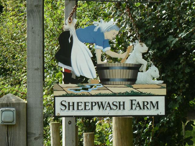 Sheepwash Farm sign - detail