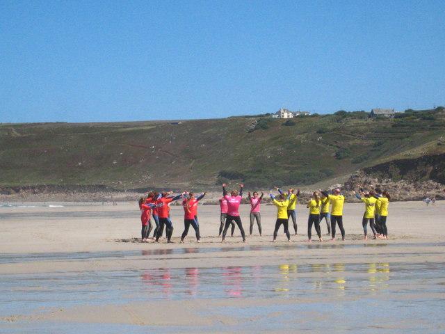 Surf class on Sennen beach