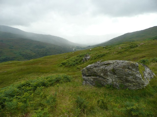 Boulder on southern slopes of Meall Ghaordaidh