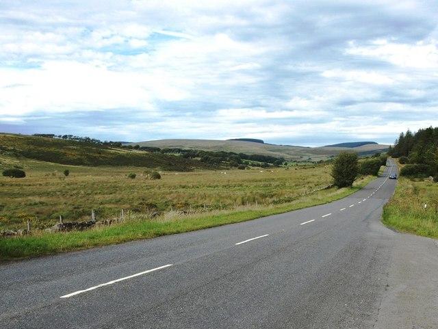 The B3212 past Bellever Forest, looking towards Postbridge