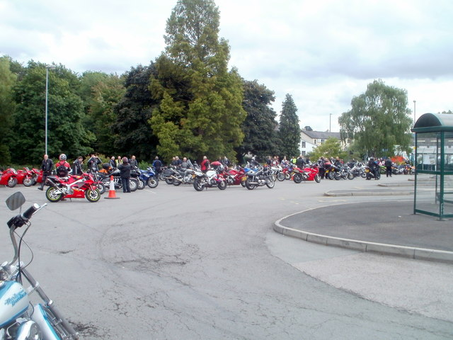 Bikers in Abergavenny bus station