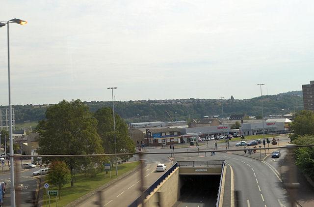 Castlegate Huddersfield from railway bridge