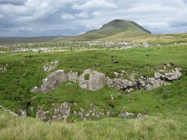 A pothole and a view to Pen-y-ghent