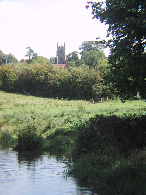 Somerton Church across the Oxford Canal
