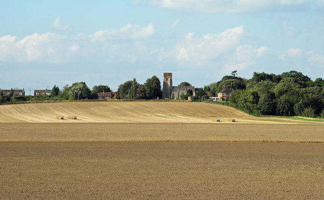 Looking over fields to Erwarton Church
