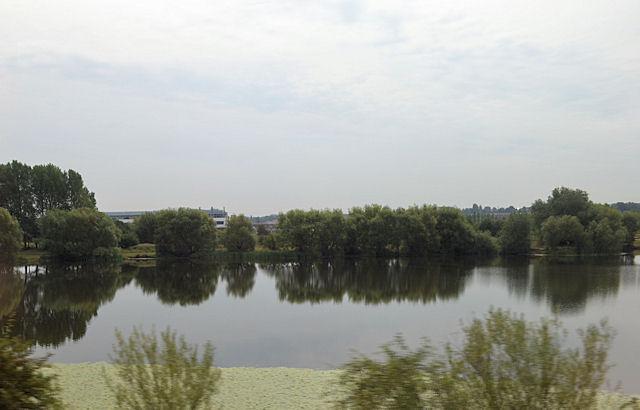 Lupset Pond by river Calder