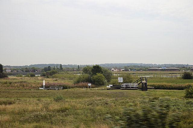 Thorne's Flood Lock from railway line