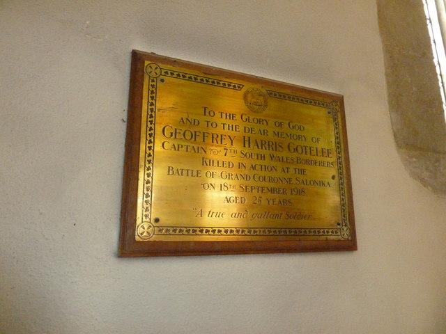 Odiham, All Saints: memorial (1)