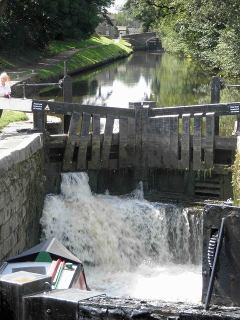 Filling lock 31 on the Leeds and Liverpool canal Gargrave
