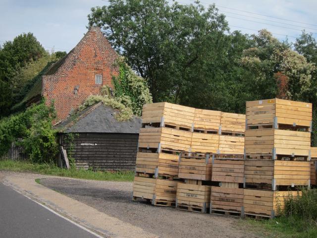 Fruit boxes at Homestall Farm