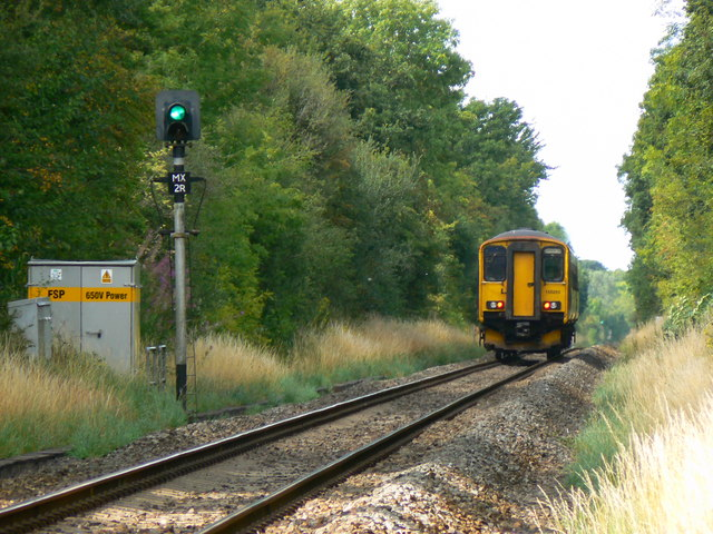 Local train from Swindon to Gloucester, near Minety