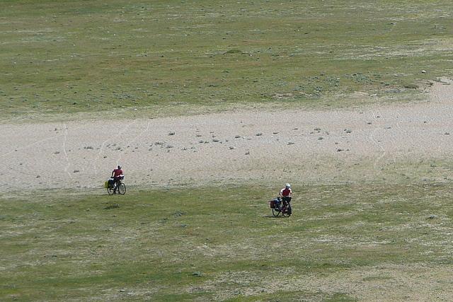 Cyclists on Loe Bar