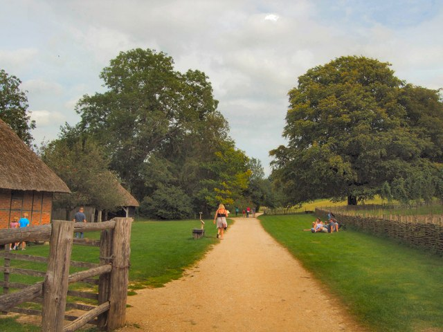 Path through grounds of Weald & Downland Museum