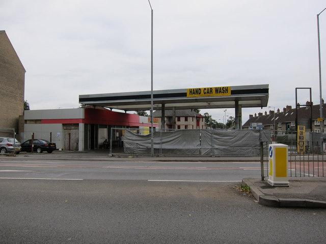 Hand car wash at former petrol station