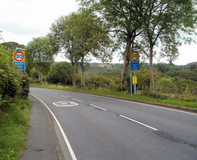 A4067 enters Ynyswen, Powys