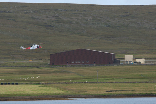 Coastguard helicopter landing at Baltasound airport