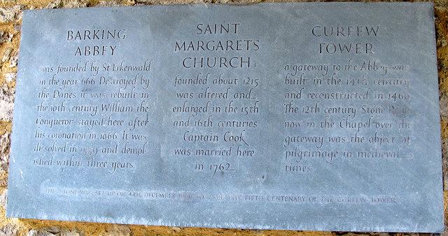 Barking Curfew Tower: plaque