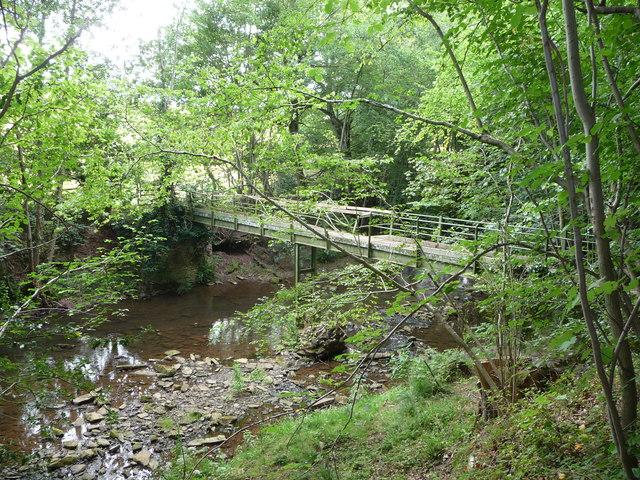 Footbridge on the River Rea near Mawley Hall