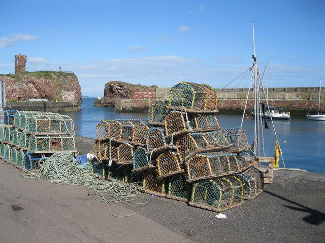 Lobster creels at Victoria Harbour, Dunbar
