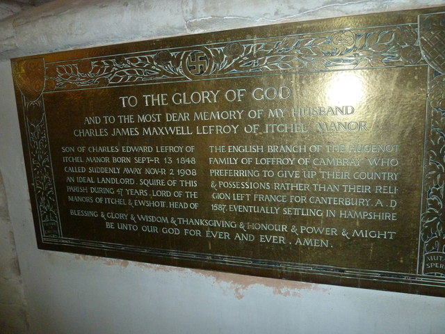 All Saints, Crondall: brass memorial