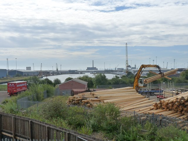 Timber storage yard and Alexandra (North) Dock