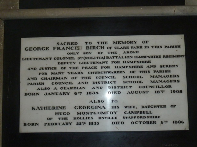 All Saints, Crondall: amended memorial