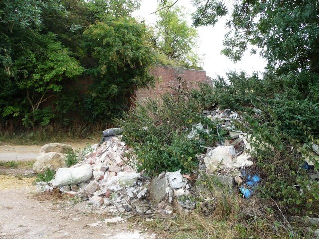 Fly tipping by the former railway bridge, Long Lane