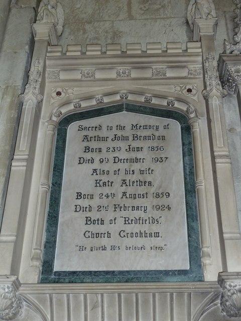 All Saints, Crondall: memorial (11)