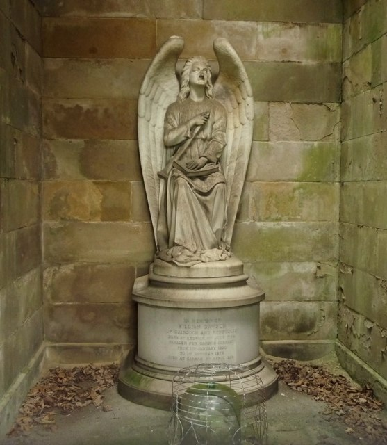 Statue from within Dawson Family Mausoleum