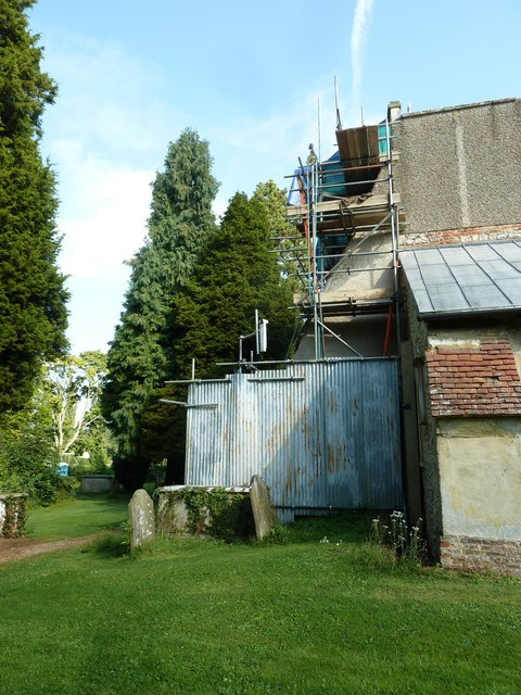 All Saints, Crondall: scaffolding