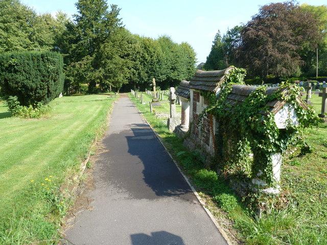 All Saints, Crondall: unusual memorial in the churchyard