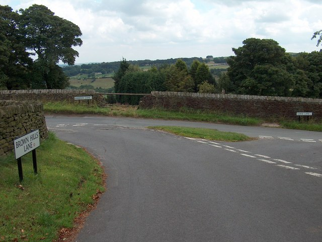 Junction of three lanes: Harrison, Brown Hills and Gorse