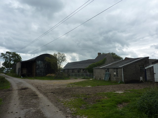 Farm buildings, silage bales, Rowfield Farm
