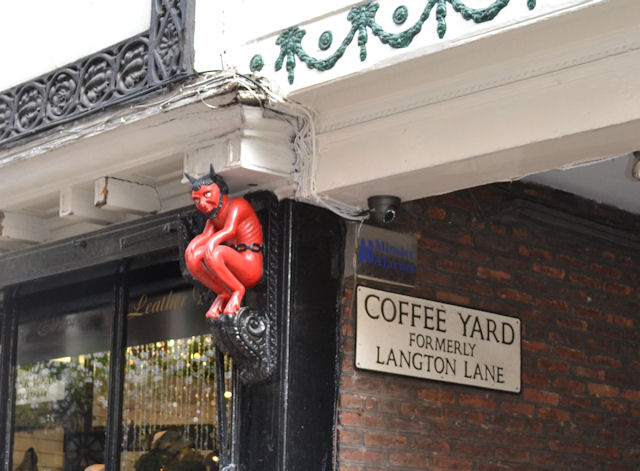Devil at entrance to Coffee Lane