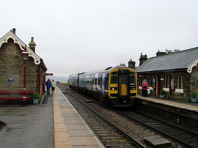 A Carlisle bound train enters Garsdale Station, Settle & Carlisle Railway