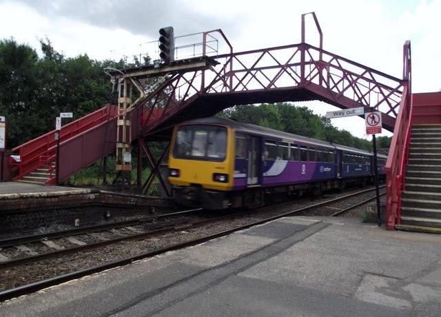 Train under the footbridge