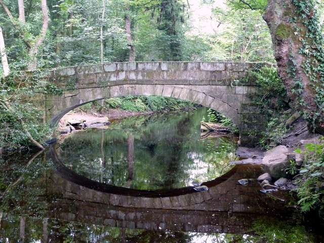 Footbridge reflected in the River Rivelin