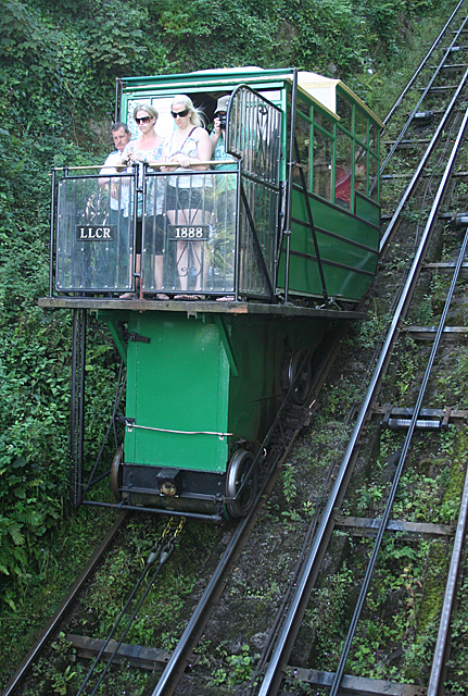 Lynton and Lynmouth: car descending the cliff railway