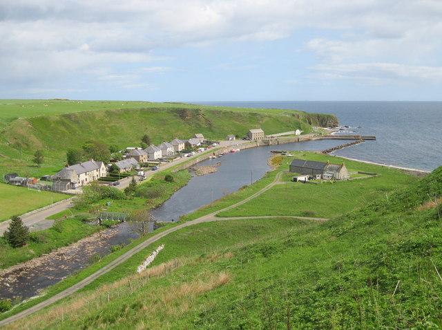 Dunbeath harbour and village